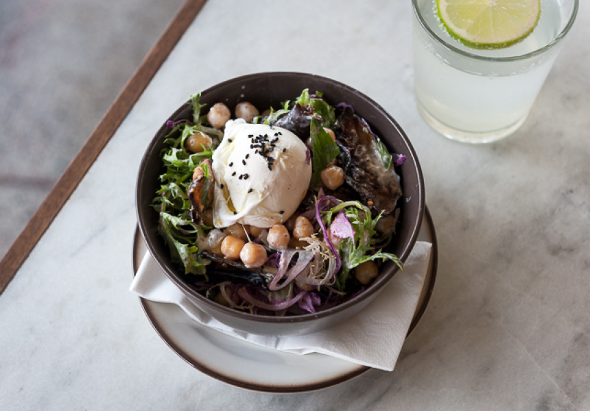 Cornersmith – Soft Poached Egg Over Dukkah-Roasted Eggplant with Chickpeas and Greens