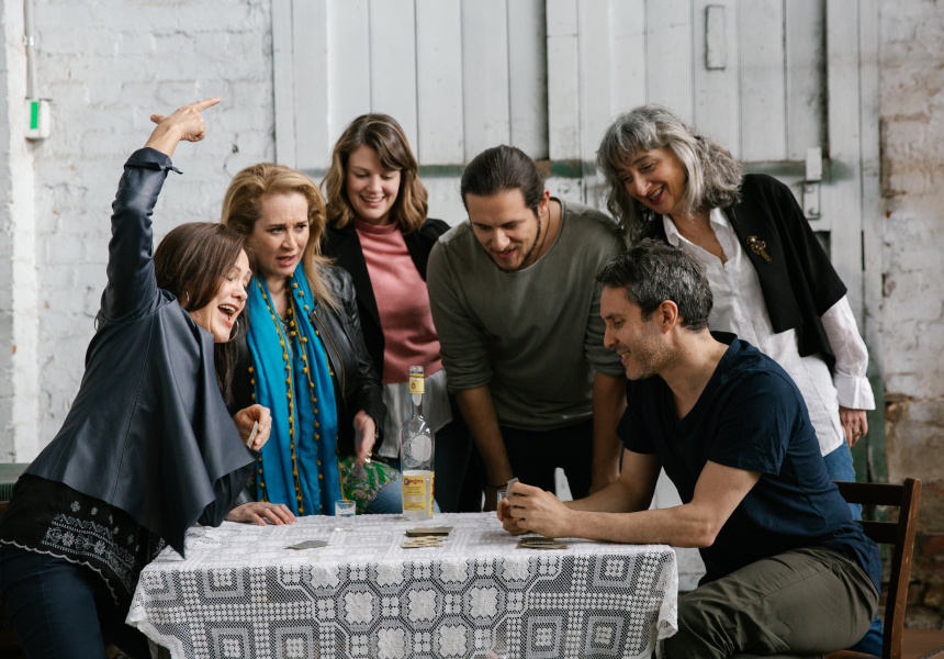 The Gods of Strangers cast playing briscola