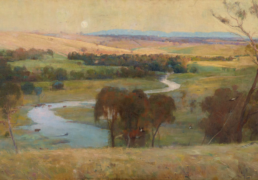 Arthur Streeton, Still glides the stream, and shall for ever glide, 1890 oil on canvas, later mounted on hardboard, 82.6 x 153 cm Art Gallery of New South Wales, Sydney, purchased 1890