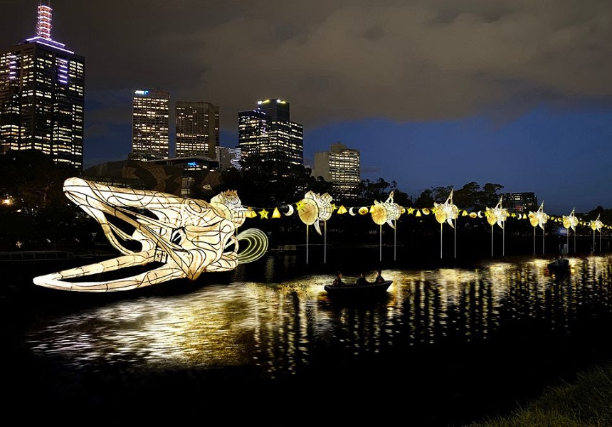 Wandering Stars, a 200-metre-long eel sculpture adjacent to Birrarung Marr