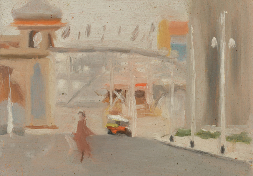 Clarice Beckett, Australia, 1887–1935 Luna Park, 1919, Melbourne, oil on board Gift of Alastair Hunter OAM and the late Tom Hunter in memory of Elizabeth through the Art Gallery of South Australia Foundation 2019 Art Gallery of South Australia, Adelaide