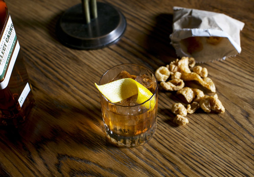 Pork scratchings are a perfect pairing for a Rye Old Fashioned.