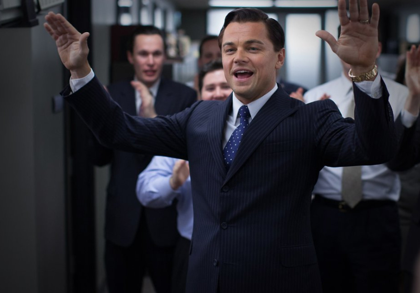 Leonardo Dicaprio in Wolf of Wall street, the eighth film in which he was coached by Larry Moss