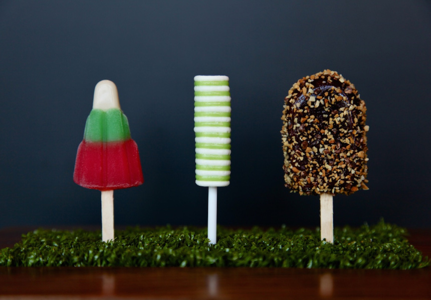 """Savoury Lollies, L to R: """"Waldorf Salad"""", Salmon and horseradish twister, and a Golden Gaytime of fig and chicken liver parfait."""