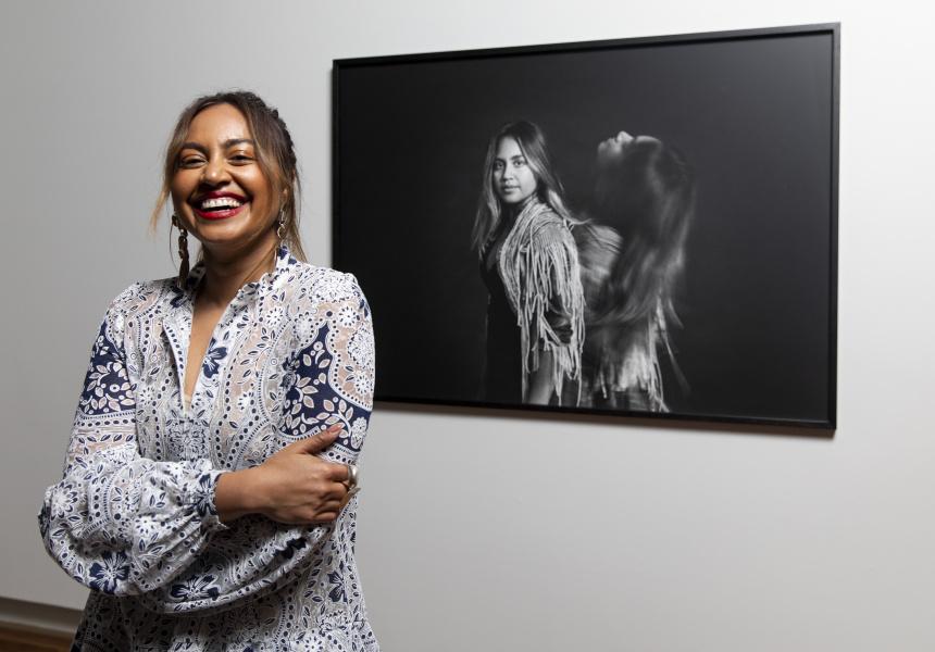 Jessica Mauboy, with portrait by David Rosetzky
