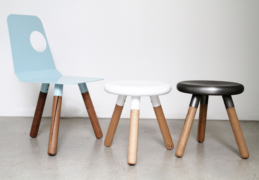 Full Moon chair and Spun stools