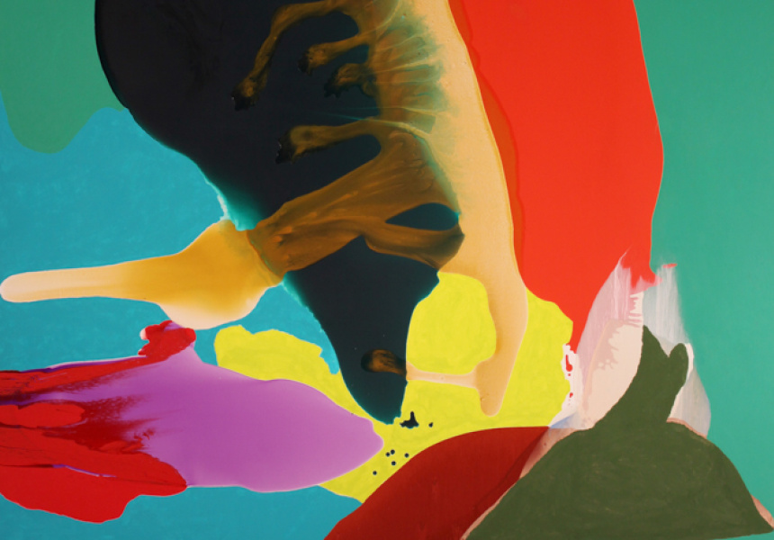 Charlie Sheard, Detail from Aition 1 2012-13 acrylic on polyester 214 x 198cm