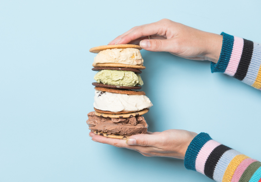 Ice-cream sandwiches available at the Broadsheet x Connoisseur Food and Design Weekend