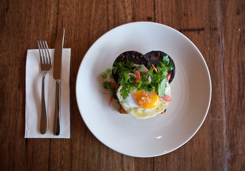Ora: Fried duck egg, black pudding, breakfast radish, parsley salad.