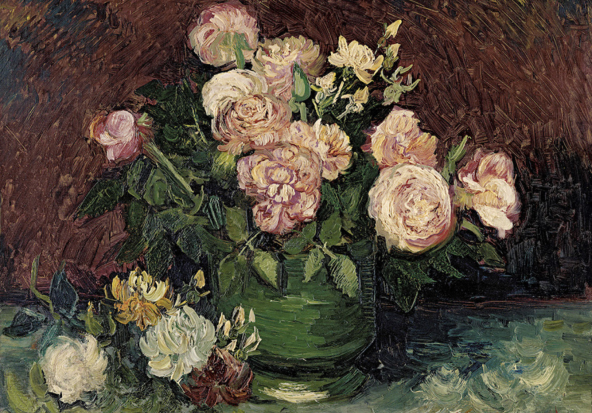 Vincent Van Gogh's Bowl With Sunflowers Roses And Other Flowers