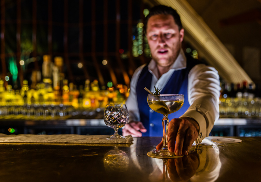 A cocktail is served at Bennelong.
