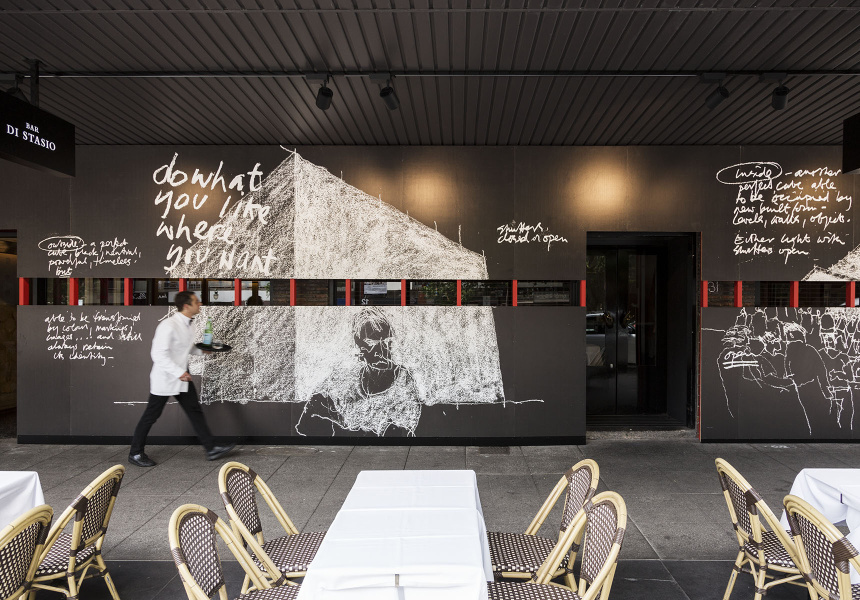 The current Cafe Di Stasio on Fitzroy Street, adorned with the 2014 Venice Biennale Australian pavillion sketches by Barrie Marshall.