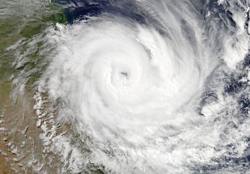 Severe Tropical Cyclone Debbie about to make landfall over Queensland at peak intensity early on 28 March 2017