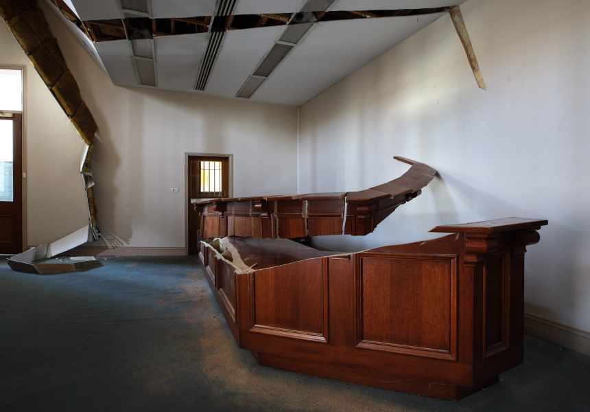 Robbie Rowlands, Incremental Loss, Front desk and ceiling cut, Image 2, Former Union Bank, The National Centre For Photography Residency, 2019. Robbie Rowlands is represented by Blackartprojects.