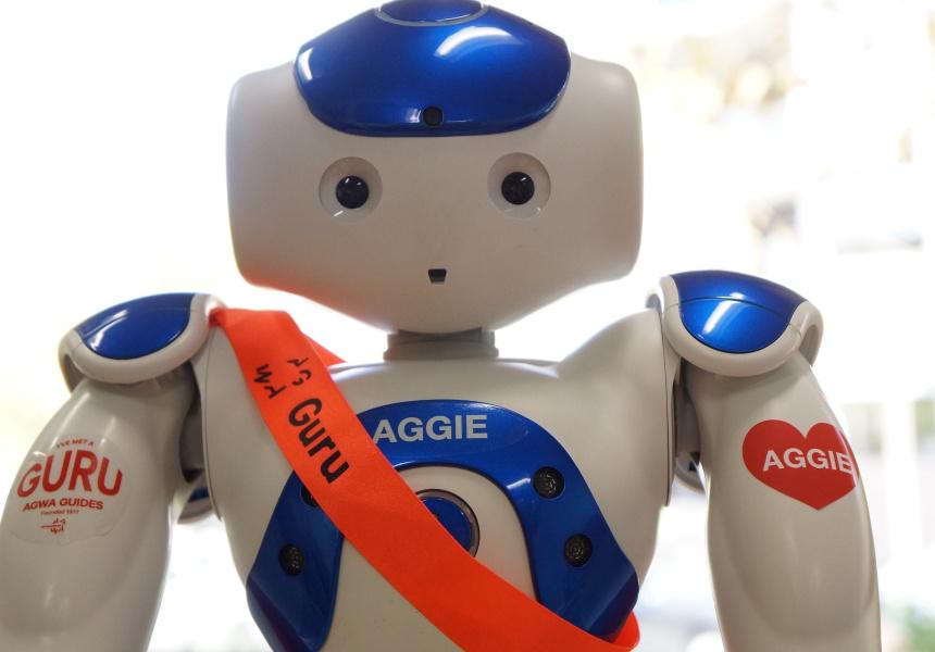 Aggie, AGWA's new robot guide.