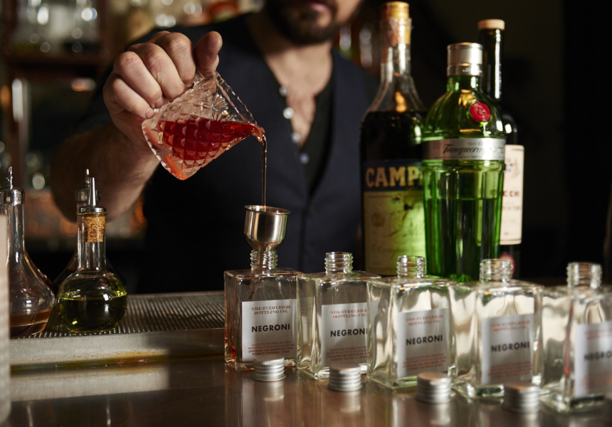 The Everleigh Bottling Co. produces four classics: the Martini, Negroni, Manhatten and Old Fashioned.
