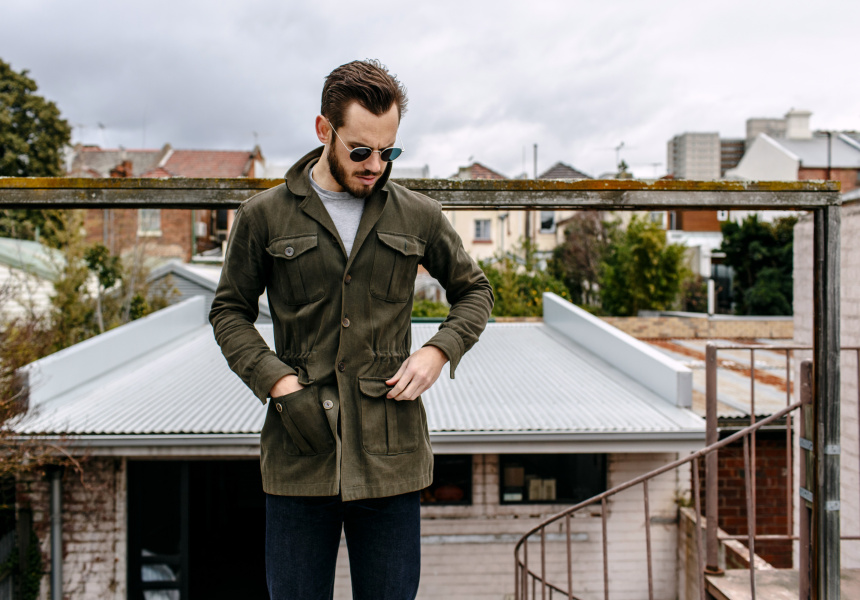 Lightweight jacket : Bespoke Brushed Cotton Safari Shirt Jacket with Horn Buttons, Steady State for The Finery Company