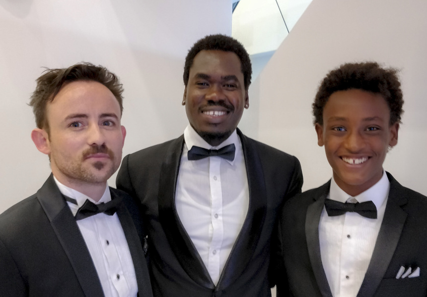 Director Charles Williams with actors Mandela Mathia and Yared Scott. Image courtesy of Charles Williams