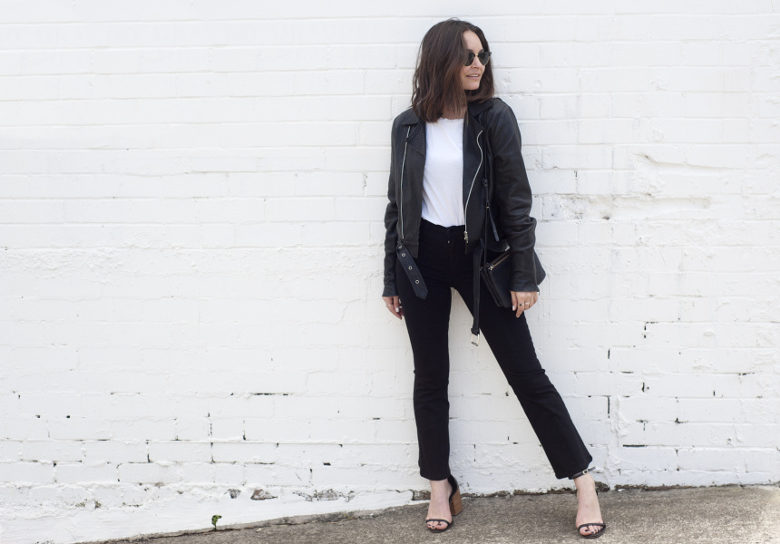 Beck Wadworth wearing Nobody Denim Cult Ankle Flare PowerBlk jeans.