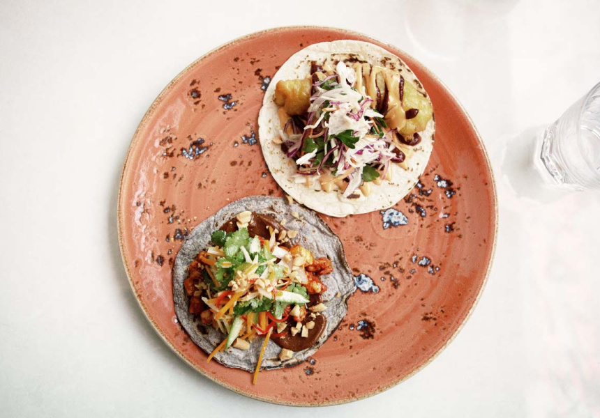 Two tacos at Acland St Cantina