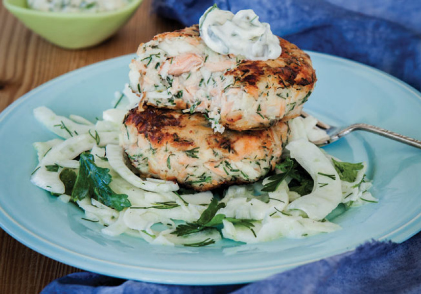 Fish Cakes with Homemade Tartare Sauce and Fennel Salad