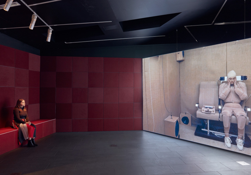 Installation view of Lucy McRae's The institute of isolation, 2016, on display as part of Lucy McRae: Body Architect at The Ian Potter Centre: NGV Australia from 30 August 2019 – 9 February 2020. © Lucy McRae