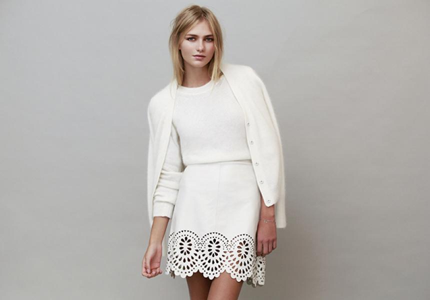 Sweater & Cardigan: ACNE. Skirt: Lover. Bracelet: Petite Grand