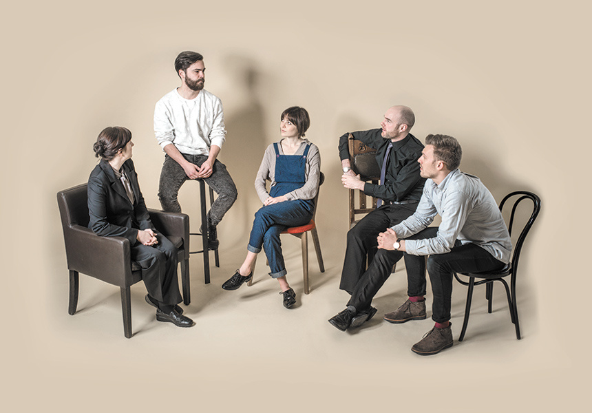 Left to right: Sarah Ward, Mark Nelson, Lou Chalmer, Tom Brushfield, Michael Underwood