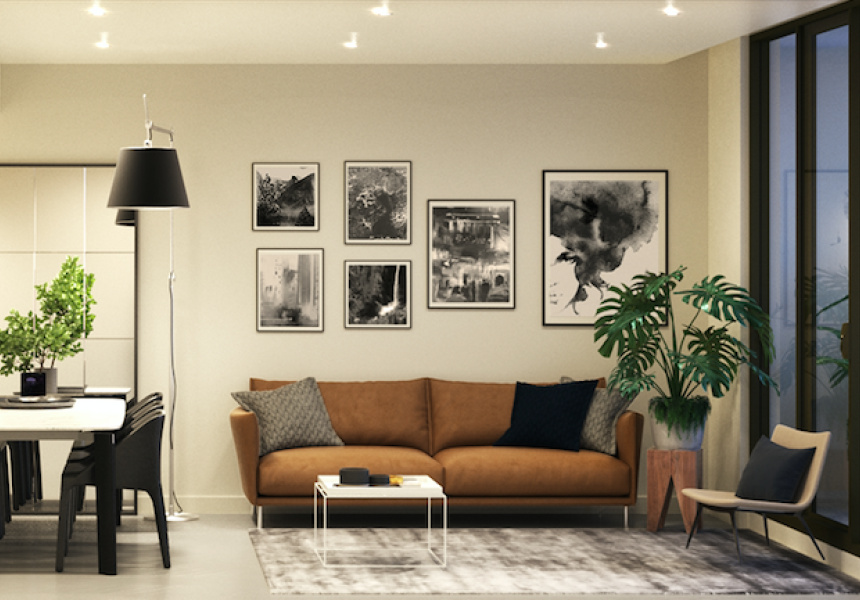 Living Room And Balcony Plants In An Artists Impression Of A One Bedroom Apartment At The