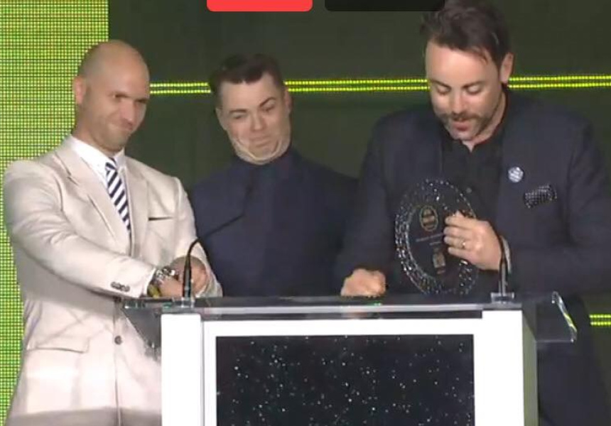 Screen shot from the awards provided by co general manager Chris Hysted-Adams (right), with training manager Nathan Beasley (middle) and ex staff member/stage crasher Rob Libecans (left).