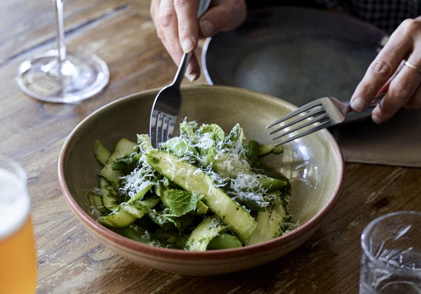 Big Poppa's zucchini and sugar snap salad with macadamia pesto
