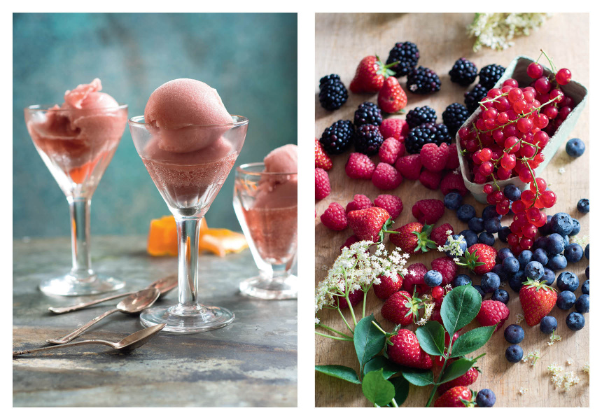 Left: Negroni Sorbet  Right: Summer Berries