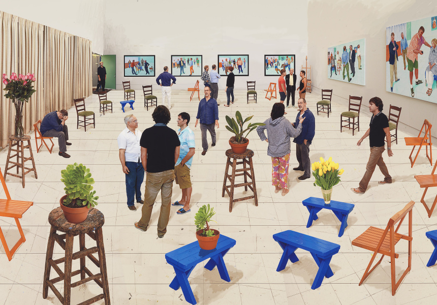 David Hockney   English 1937–   4 blue stools 2014   photographic drawing printed on paper mounted on Dibond, 170.3 x 175.9 cm   Collection of the artist © David Hockney