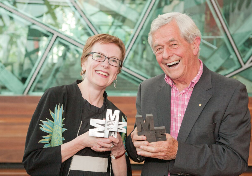 Left to right: Kate Ryan and Chris Wallace-Crabbe at the Melbourne Prize awards ceremony.