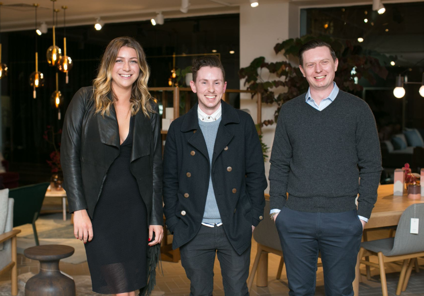 Mercedes-Benz Design Award presented by Broadsheet finalists [L to R]: Bianca Isgro, Bradley Mitchell, Joshua McKean.