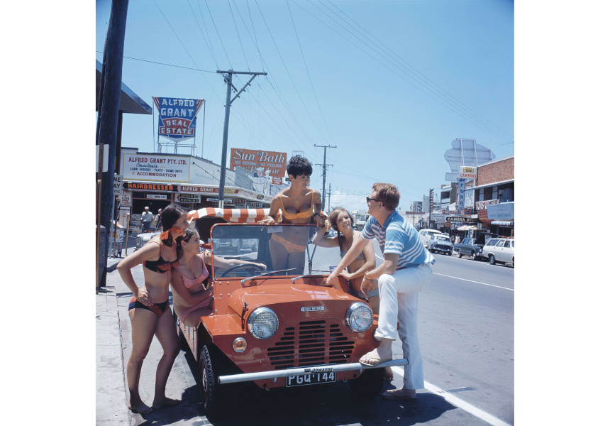 Minimoke The British-designed Mini More was a popular hire vehicle at Australian resorts in the 60s and 70s. Gold Coast, 1970