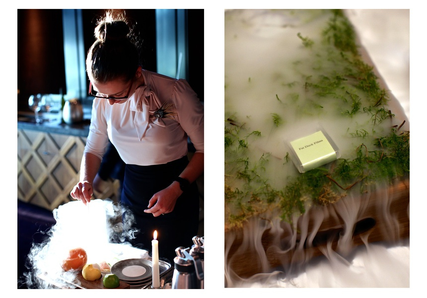 Left: Mad Hatters Tea Party's Mocktail Soup  Right: Jelly of Quail with Marron Cream and Oak Moss