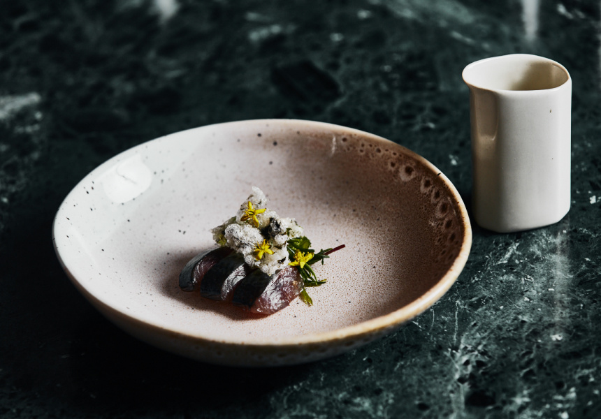 A dish from one of Navi's first menus: smoked honey, blue mackerel, beach greens and roasted bone broth