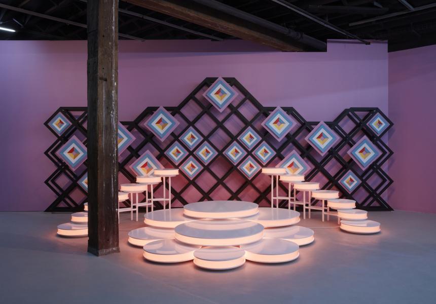 Fátima Rodrigo Gonzales, Sabado Gigante (Gigantic Saturday),2020, MDF, steel, acrylic sheet, enamel paint, LED. Installation view (2020) for the 22ndBiennale of Sydney, Artspace. Courtesy the artist and 80m2 Livia Benavides Gallery, Lima.