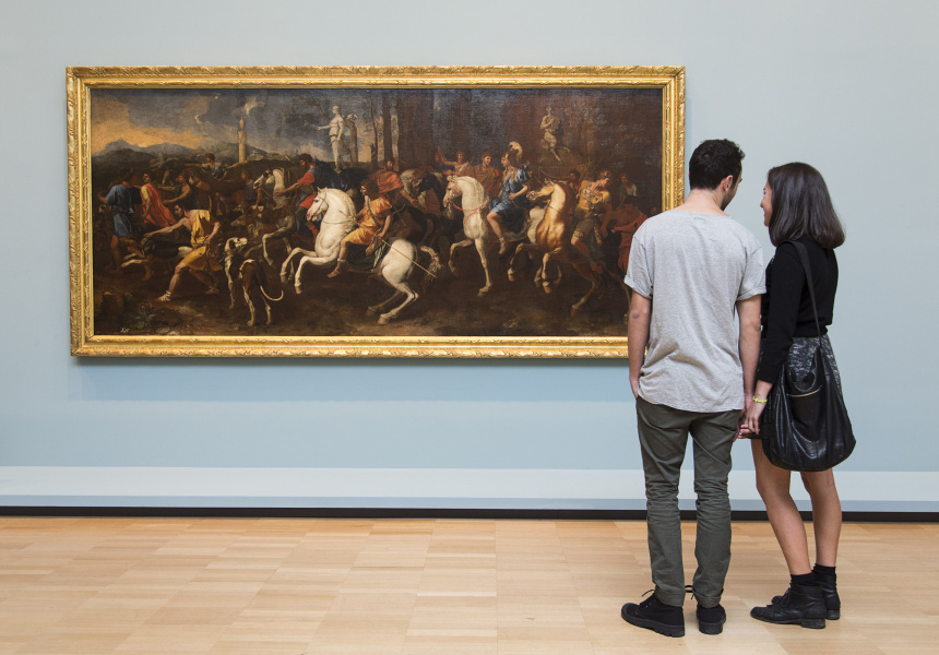 Visitors viewing The hunt of Atalanta and Meleager (La caccia di Atalanta e Meleager)