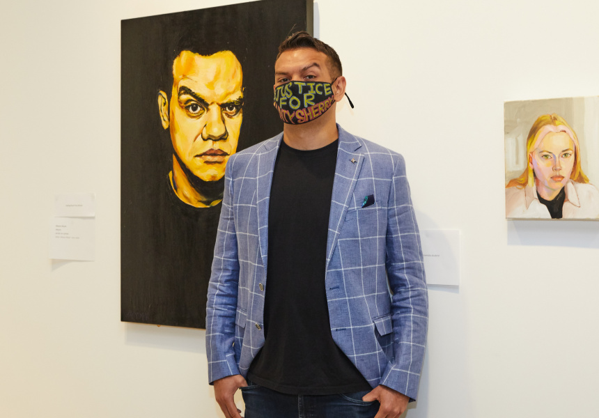 Packing Room Prize winner Meyne Wyatt with his self-portrait Meyne