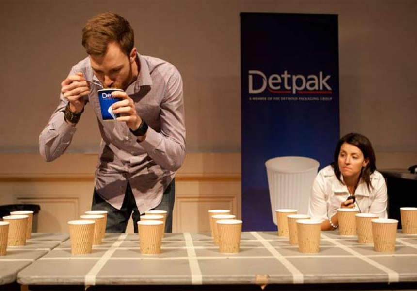 Judge Ben Bicknell cupping. Photography: Samual Ho.