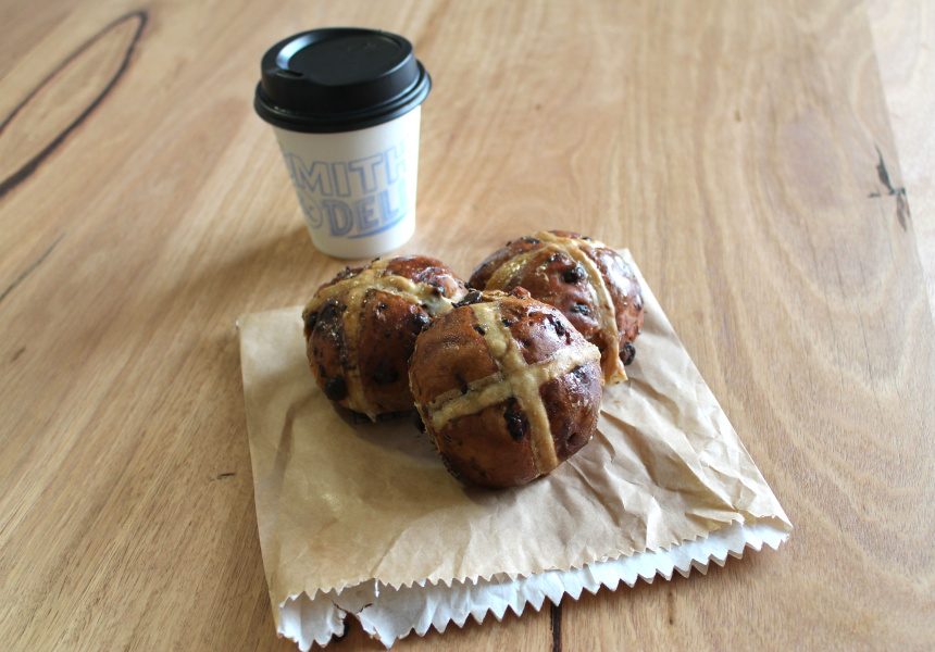 Vegan hot cross buns at Smith and Deli