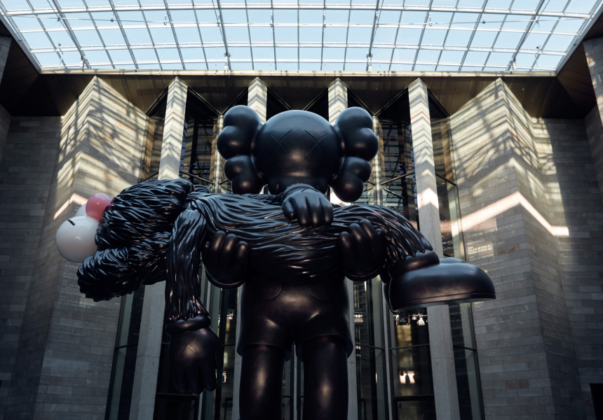 Installation view of KAWS's GONE, 2019 on display for KAWS: Companionship in the Age of Loneliness at NGV International, Melbourne 20 September 19 – 13 April 2020.