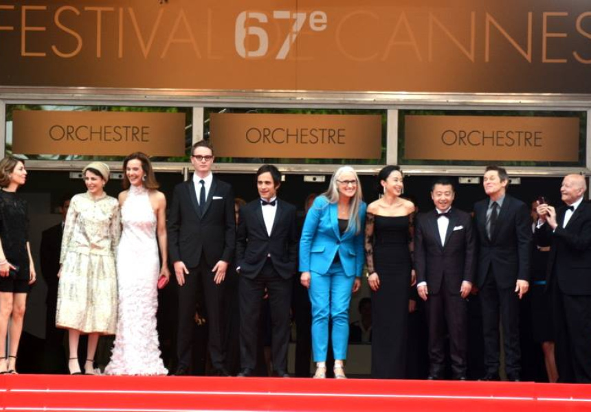 Jane Campion (in blue) with other members of the jury for the main competition section at the 2014 Cannes Film Festival