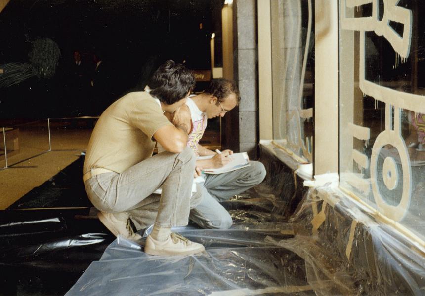 Keith Haring preparing an artwork on the Waterwall at the NGV