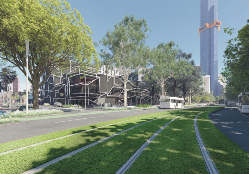 An artist's impression of the new green tram track on Southbank Boulevard.