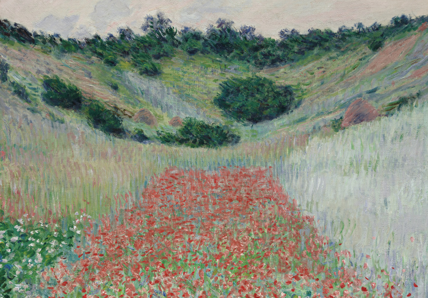 Claude Monet French 1840–1926 Poppy field in a hollow near Giverny 1885 oil on canvas 65.1 x 81.3 cm Museum of Fine Arts, Boston Juliana Cheney Edwards Collection