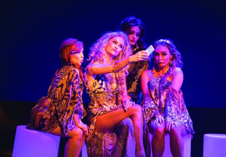 Can't Hang – Laura Murphy, Christie Whelan Browne, Hilary Cole and Manon Gunderson-Briggs in Sydney Theatre Company and Global Creatures Production of Muriel's Wedding the Musical