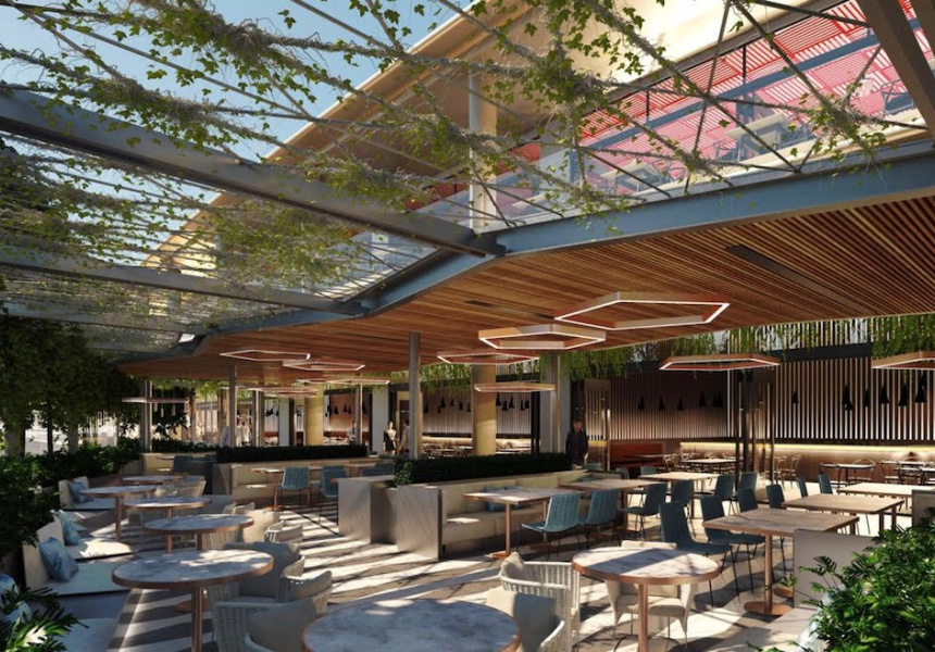 Render of Calia's outdoor dining area at Chadstone